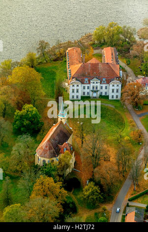 Aerial photo, castle Ivenack, Stavenhagen, Müritz lake landscape, Mecklenburg-Vorpommern, Germany, Europe aerial - Stock Photo