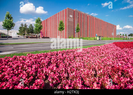 KATOWICE, POLAND - AUGUST 18, 2016: Modern concert hall of The National Orchestra of Polish Radio located in a modern - Stock Photo