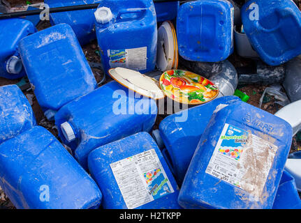 Used plastic bottles storage to recycle,recycling center - Stock Photo