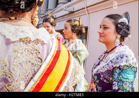 Women in Fallera Costumes,in the roof of town hall, Fallas festival,Valencia - Stock Photo