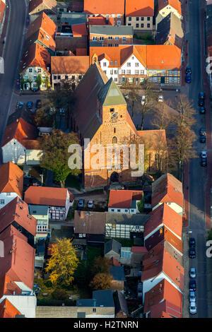 Aerial view, St. Mary's Church Penzlin, Penzlin, Mecklenburg Lake District, Müritz, Mecklenburg-Vorpommern, Germany, - Stock Photo