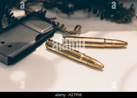 Ammunition for rifle with a magazine. Rifle bullets. - Stock Photo