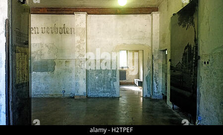 Dachau, Germany - View of the nazi concentration camp memorial, permanent exhibition at the maintenance building,camp - Stock Photo