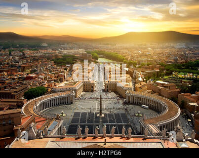 View on Vatican city from the top at sunset, Italy - Stock Photo