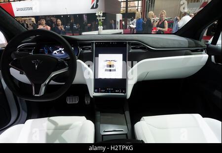 Interior Dashboard View Of Tesla Model X At Paris Motor Show 2016   Stock  Photo