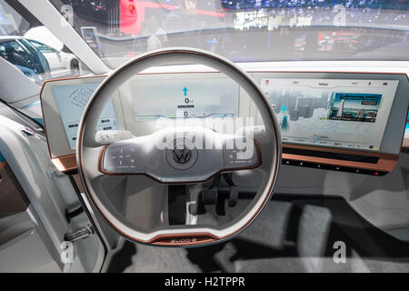 Detail of electronic dashboard of Volkswagen, VW Budd.E electric concept minivan  at Paris Motor Show 2016 - Stock Photo