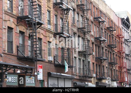 Old Red Brick Apartment Buildings In New York City   Stock Photo