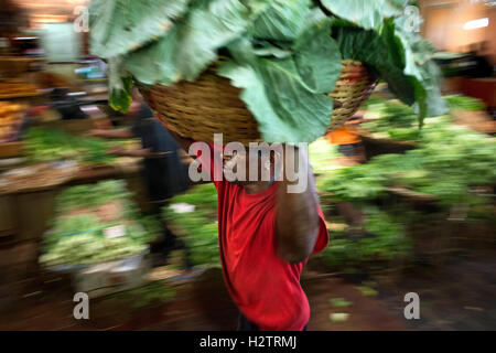 Fruit and Vegetable Market Stalls in Central Market, Port Louis, Mauritius - Stock Photo