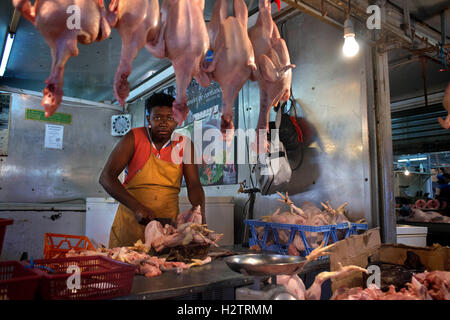 Meat Market Stalls in Central Market, Port Louis, Mauritius - Stock Photo