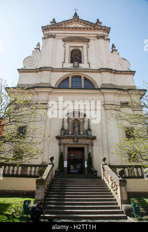 Exterior of the Church of the Virgin Mary the Victorious in Prague that has The Holy Infant Jesus inside . - Stock Photo