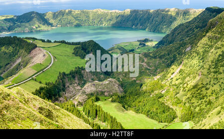 Bright Valley and Lakes down the to Ocean. Lagoa Santiago, Azul and Verde as well as the ocean are included in this - Stock Photo