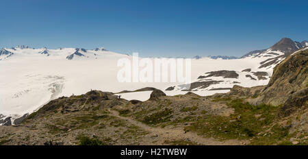 View of the Harding Icefield on a beautiful summer morning, Kenai Fjords National Park, Seward, Alaska. - Stock Photo