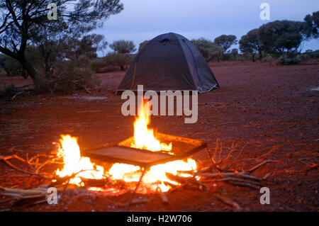wilderness camping in the Australian bush - Stock Photo