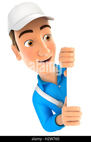3d painter peeping over blank wall, illustration with isolated white background - Stock Photo