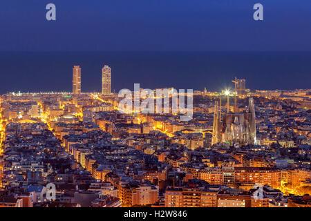 Barcelona skyline panorama at night - Stock Photo