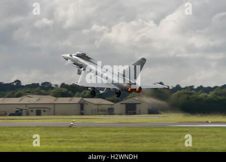 Italian Eurofighter Typhoon takes off from RAF Fairford in the Cotswolds to display at the 2016 Royal International - Stock Photo