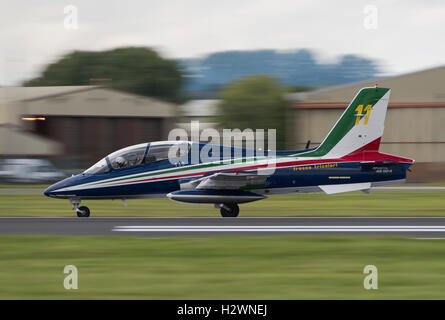 An Aermacchi MB-339PAN Jet Trainer, airplane number eleven of the Italian Air Force Military Aerobatic Display Team - Stock Photo