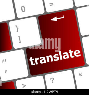 Multilingual translation on-line concept. Close up of multi language keyboard and translate word key - Stock Photo