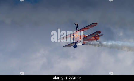 Farnborough, UK - 16th July 2016: The Breitling Wing Walkers in flight at Farnborough Airshow - Stock Photo