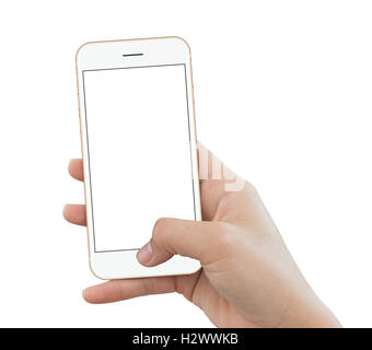 closeup hand use phone gold color isolated on white background, mock up phone white screen for add app screen - Stock Photo
