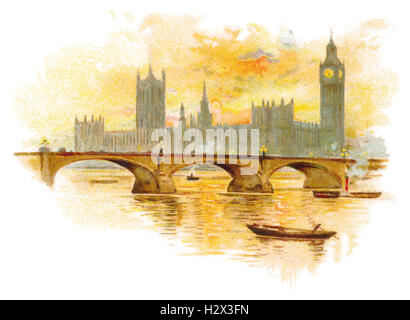 Colour illustration of the Houses Of Parliament and Westminster Bridge over the River Thames in London, England - Stock Photo