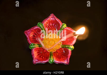 Oil lamps are traditionally used during Diwali  festival, Diwali is an ancient Indian festival . - Stock Photo