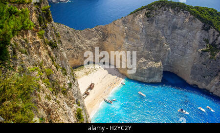 Navagio Beach - Shipwreck Beach, Zakynthos Island, Greece. The most beautiful beaches in the world. - Stock Photo