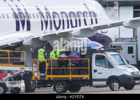 Monarch Airlines plane at Luton Airport on Friday afternoon Sept 30th - Stock Photo