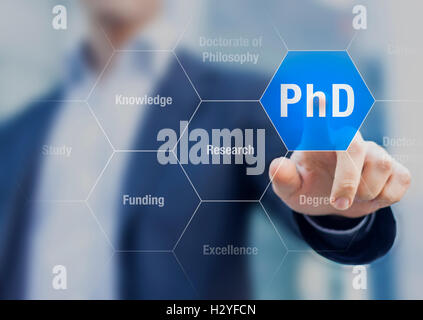 PhD student pushing button about Doctorate of Philosophy concept - Stock Photo