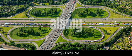 Aerial view, traffic congestion, traffic jam on the A59 and A40 motorway, Autobahn, Duisburg, Ruhr District - Stock Photo