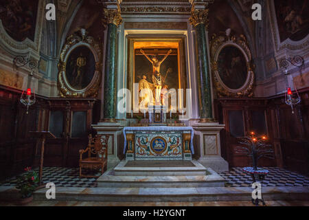 Altar, church of the Abbey of Monte Oliveto Maggiore, in Buonconvento, Tuscany, Italy - Stock Photo