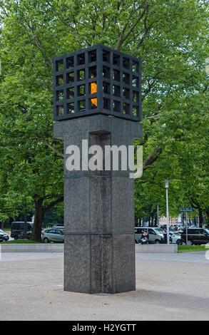 Eternal flame, Platz der Opfer des Nationalsozialismus, Victims of National Socialism Memorial, Munich, Bavaria, - Stock Photo