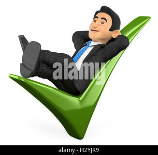 3d business people illustration. Businessman lying on a green tick. Isolated white background. - Stock Photo