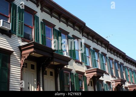Sylvan Terrace wooden frame houses were built in 1882-1883 and are part of Jumel Terrace Historic District in Washington - Stock Photo