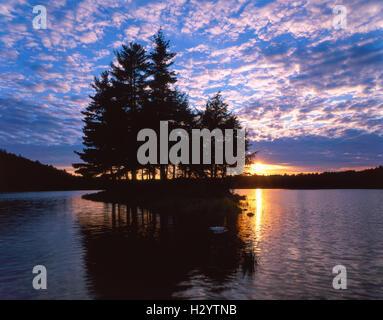 Sunset, sland, Imp Lake, Ottawa National Forest, Upper peninsula, Michigan USA - Stock Photo
