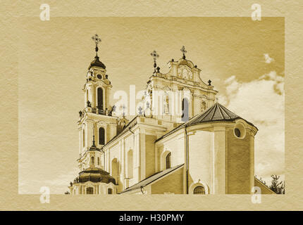St. Catherines Church (Sv. Kotrynos baznycia) is a Baroque church in the old town of Vilnius, Lithuania, Baltic - Stock Photo
