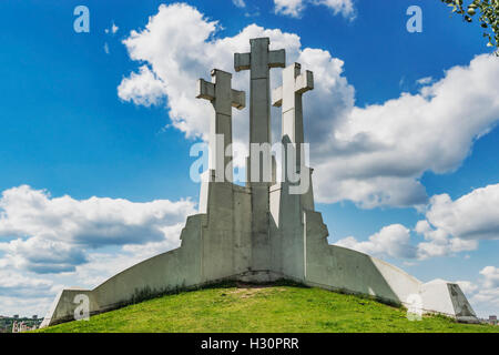 The Hill of three crosses is a landmark of the city of Vilnius, Lithuania, Baltic States, Europe - Stock Photo