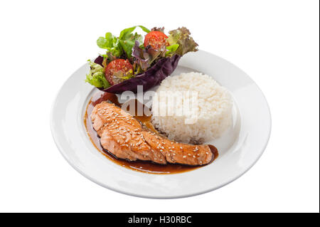 Front view of Fusion food style grilled salmon dressed with Japanese sweet sauce (Teriyaki) including Thai rice - Stock Photo