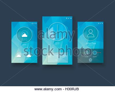 Modern mobile user interface template with smartphone screens on blue low poly vector background. - Stock Photo