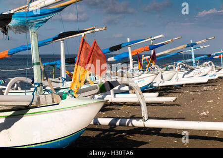 Indonesia, Bali, Amed, outrigger fishing boats on the beach - Stock Photo