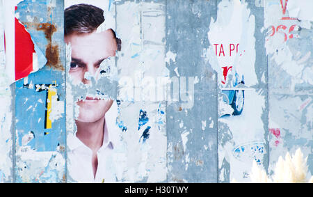 Lugones, Spain. 2nd October, 2016. Political campaign posters of former-leader of Spanish Socialist Party (PSOE) - Stock Photo