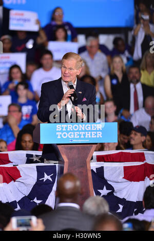 CORAL SPRINGS, FL - SEPTEMBER 30: Sen. Bill Nelson (D-FL) speaks before the arrival of Democratic presidential candidate - Stock Photo