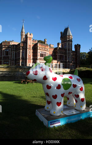 One of the Great North Snowdogs on display in Gateshead, England. The decorated dog figures, displayed at locations - Stock Photo