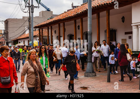 Bogota, Colombia - October 02, 2016: Voters coming to vote on Plaza Usaquen, in the Andean capital city of Bogota, - Stock Photo