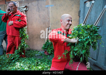Preparing the masks for the `Plens´.La Patum (Masterpiece of Oral and Intangible Heritage by UNESCO).Berga. Barcelona. - Stock Photo