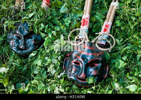 Masks for the `Plens´.La Patum (Masterpiece of Oral and Intangible Heritage by UNESCO).Berga. Barcelona. Catalonia. - Stock Photo