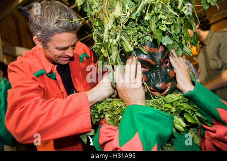 Getting ready the `Plens´. La Patum (Masterpiece of Oral and Intangible Heritage by UNESCO).Berga. Barcelona. Catalonia. - Stock Photo