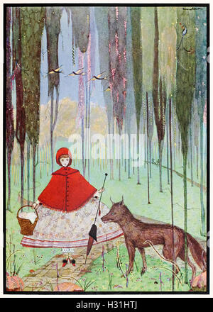 """He asked her whither she was going."" Illustration from 'Little Riding-Hood' by Harry Clarke (1889-1931). See description - Stock Photo"