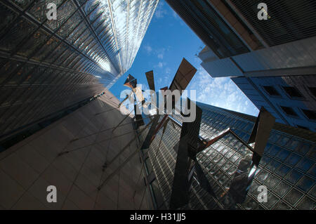 A sculpture mounted on the side of Maison Hermes building, Architect Renzo Piano located in Chuo-ku (Central District) - Stock Photo