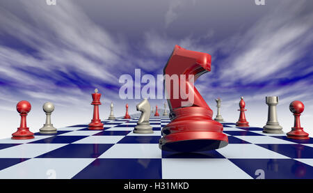 Chess pieces on a chessboard long (fantastic background). Available in high-resolution and several sizes. 3D illustration - Stock Photo